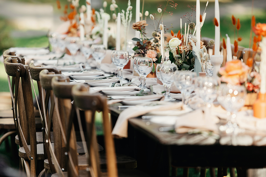 Boho wedding table for guests