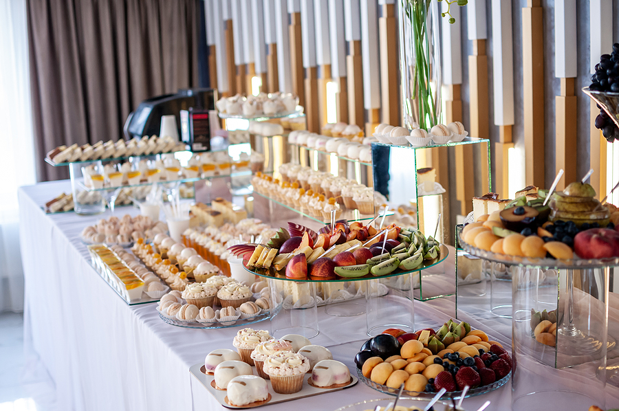 Wedding catering Sydney sweet cakes and buffet set up